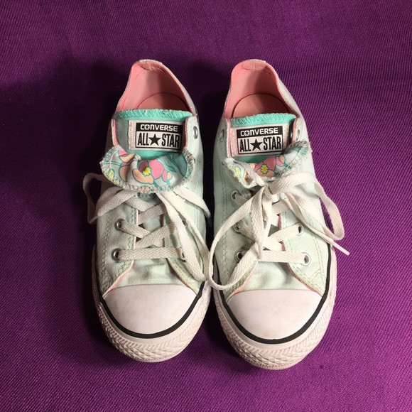 Converse Other - Converse all-star low tops mint green floral print